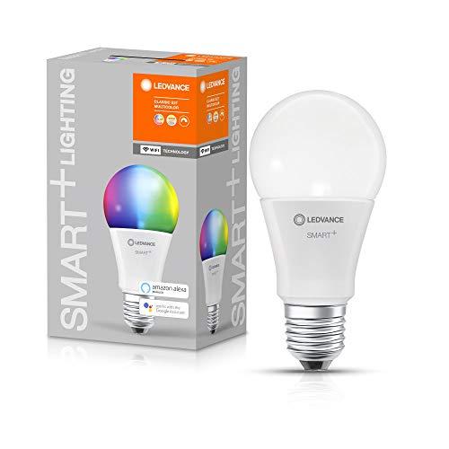 LEDVANCE Smarte LED-Lampe mit WiFi Technologie, Sockel E27, Dimmbar, Lichtfarbe änderbar (2700-6500K), RGB Farben änderbar, ersetzt Glühlampen mit 60 W, SMART+ WiFi Classic Multicolour, 1er-Pack