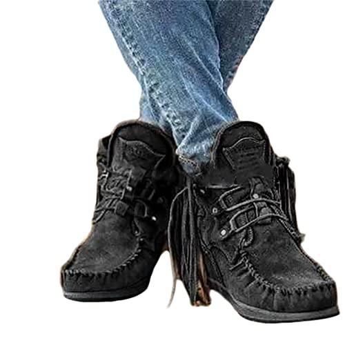 Onsoyours Damen Herbst Winter Flache Wildleder Retro Stiefeletten mit Fransen Casual Short Ankle Boots Schuhe Schwarz 41 EU