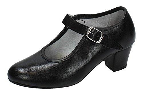 MADE IN SPAIN 15 Zapato DE SEVILLANAS NIÑA Zapatos TACÓN Negro 27