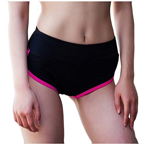 Boshivw Womens Workout Yoga Shorts Elastic Waist Hip Lift Solid Color Tummy Control Athletic Shorts Sports Running Shorts Hot Pink