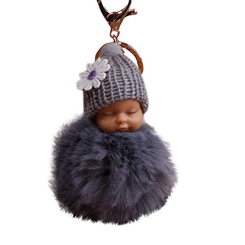 XXYsm Schlüsselanhänger Elegant Weich Keychain Handtaschenanhänger Dekor Niedlichen Plüsch Ball PomPom Schlafen Puppe Grau