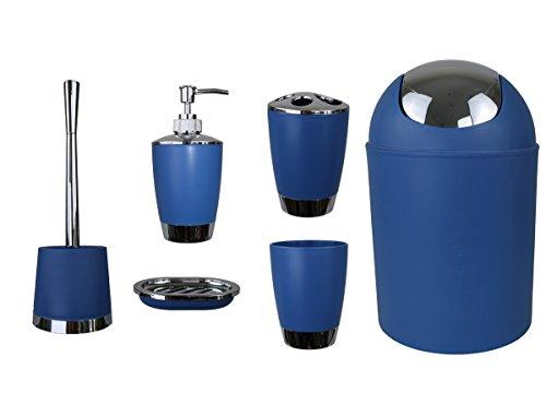 GMMH 6tlg BADSET Badezimmer ZUBEHÖR Set SEIFENSPENDER Halter WC BÜRSTE BADGARNITUR (dunkel blau)