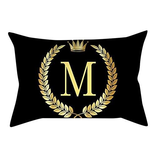 VJGOAL Personalidad única Carta de Oro de impresión Negro Funda de Almohada cómodo Sofá rectángulo Funda de Cojín Decoración para El Hogar(30_x_50_cm,Multicolor13)