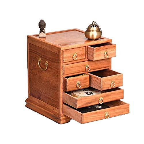 Yingm Organizador de Almacenamiento de Caja de té para Colecciones de té con cajones de Maquillaje de joyería. Caja de Té Ligera (Color : Marrón, Size : 38x32x32cm)
