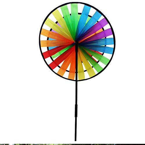 Zidao Flor del Molino Viento Bricolaje Arco Iris Colores Dreifachrad Molino Viento Molinete Colores Perinola Adornos jardín a Prueba Agua para los niños Juguetes jardín,Azul