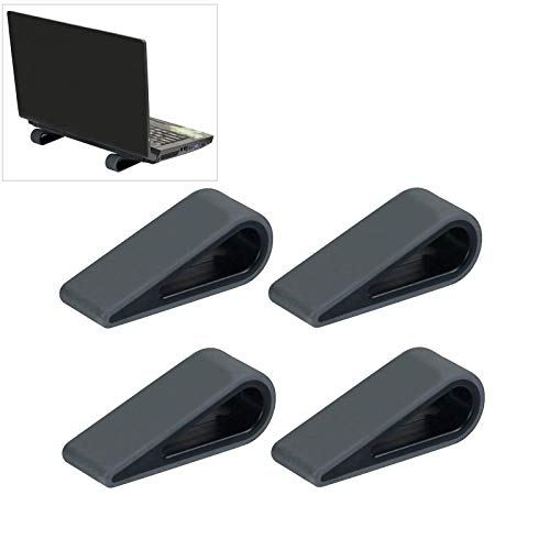 Silicone Laptop Stand, Pack of 4 Portable Silicone Laptop Stand, Anti-Slip Silicone Laptop Stands, Wedge, Ventilation and Heat Dissipation, for Laptop, Tablet, Keyboard (Black)