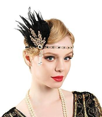 Zivyes Gatsby Feather Headpiece Flapper Leaf Pearl Headband Roaring 20s Wedding Headpiece