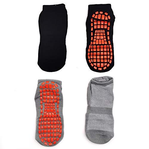 2 Pares Calcetines de trampolín Calcetines Antideslizantes para Hombre Mujer Algodón Transpirable Calcetines Deportivos para Pilates Yoga Fitness Gimnasia (negro y gris)