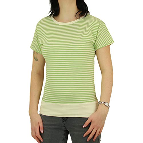 Greenbomb Frauen T-Shirt Basic Brave grün gestreift - L