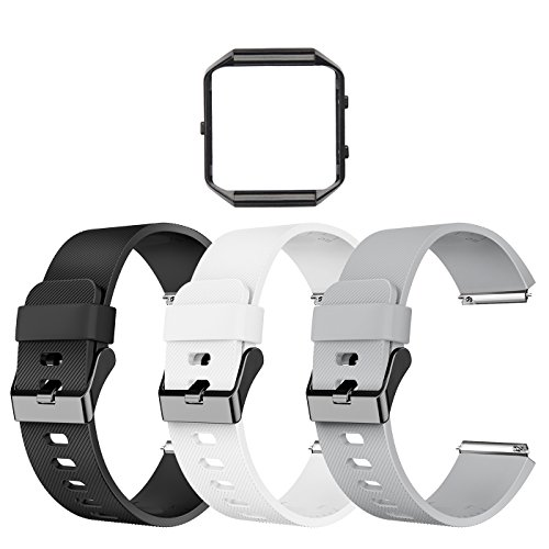LEEFOX Compatible Fitbit Blaze Bands with Frame, Sport Silicone Replacement Strap for Fitbit Blaze Smart Fitness Watch Accessory Wristbands Small, Black White Gray w/Black Frame Men Women Boys Girls