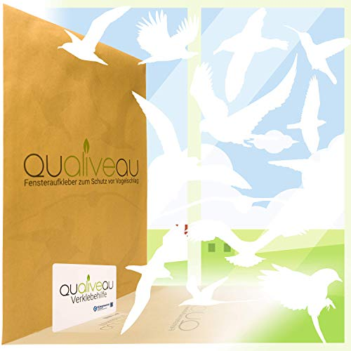 QUALIVEAU® 12-30cm Große Fensterbilder Aufkleber zum Schutz vor Vogelschlag, Komplettset mit Verklebehilfe, Weiß