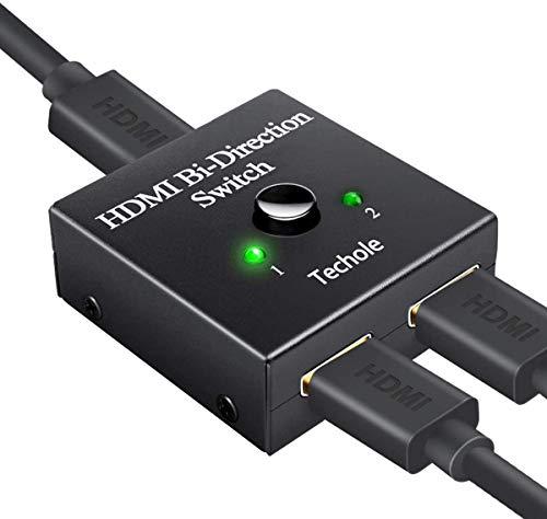 Switch HDMI, Techole Conmutador HDMI Switch Bidireccional 2 Entradas a 1 Salida o Switch 1 in a 2 out, Soporta 4K 1080P, Divisor HDMI Conmutador Para HDTV/Blu-Ray Player/DVD / PS4 PS3 / Xbox