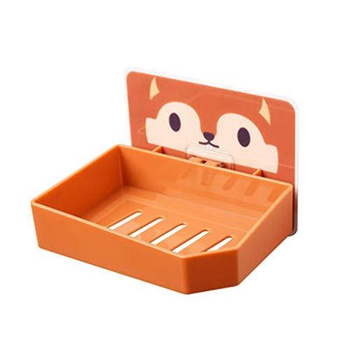 ZAIZAI Soporte de jabón de Drenaje montado en la Pared Fuerte Caja de jabón de baño de Dibujos Animados Lindo plástico Esponja jabón Plato baño Accesorios (Color : A)