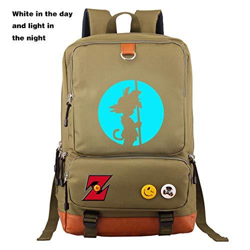 XMXYLP Sac à Dos Universel étanche pour l'école de Voyage en Plein air Sac à Dos Sac à Dos imprimé Anime Lumineux, Vert armée, 21 Pouces