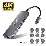 URSICO Hub USB C 9 En 1, Tipo C Adaptador con 4K HDMI, Ethernet Rj45, 3 USB 3.0, Mic/Audio, PD Port, SD/TF Lector para MacBook/MacBook Pro 2016/2017 and Other USB C Devices.