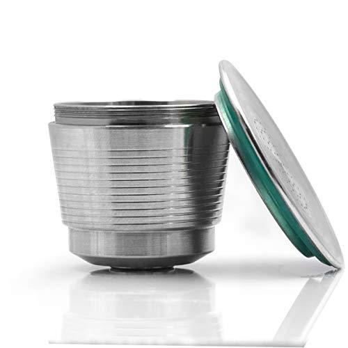 Konesky - Cápsula de café reutilizable de acero inoxidable para modelos de cafetera Nespresso (cepillo y cuchara)