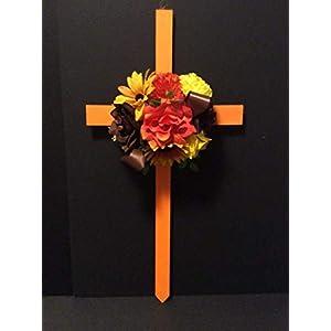 Memorial Cross, Cemetery Autumn Flowers