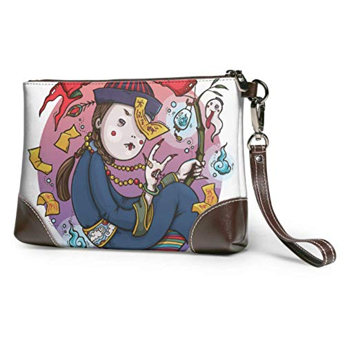 XCNGG Weiche wasserdichte Armbänder Brieftaschen Nette Cartoon Zombies Damen Clutch Lederhandtasche mit Reißverschluss für Frauen Mädchen