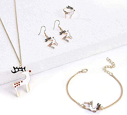Aluyouqi Co.,ltd Collar Collar de Navidad Joyas Collar Pendientes Anillo Pulsera Mujeres Niñas