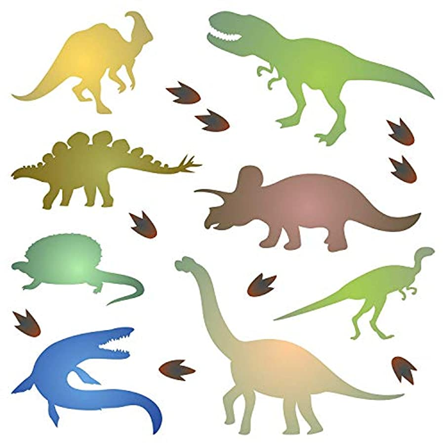 Dinosaur Silhouette Stencil - 4.5 x 4.5 inch (S) - Reusable Kids Animal Jurassic Period Stencil Template - Use on Paper Projects Scrapbook Journal Walls Floors Fabric Furniture Glass Wood etc.