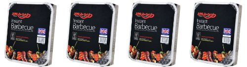 4 X Barbecue instantané Bar-Be-Quick:Le barbecue instantané Bar-Be-Quick est la meilleure marque de barbecue jetable dans le monde – il s'allume avec une seule allumette et cuit jusqu'à 1 hr30 min. Apportez-le et cuisinez n'importe où.