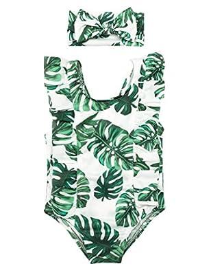 Newborn Baby Girls Swimsuit Leaf Print Swimsuit Bikini Sunsuit +Headband 2Pcs Set 0-3 Months