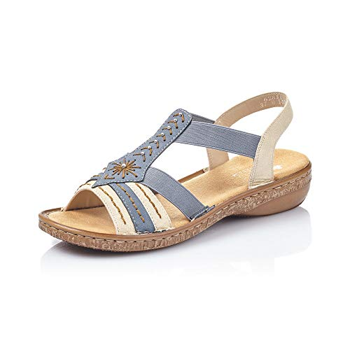 Rieker Damen Sandalen 62811, Frauen Riemchensandalen, Sandalette Gladiatoren-Sandale sommerschuh Damen Frauen weibliche Lady,Jeans,42 EU / 8 UK