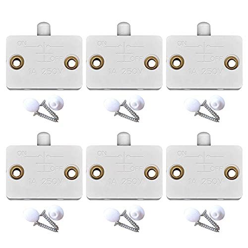 FDKJOK 6 piezas gabinete lámpara interruptor armario armario luz interruptor lámpara encendido normalmente cerrado gabinete luz encendido apagado apagado interruptor