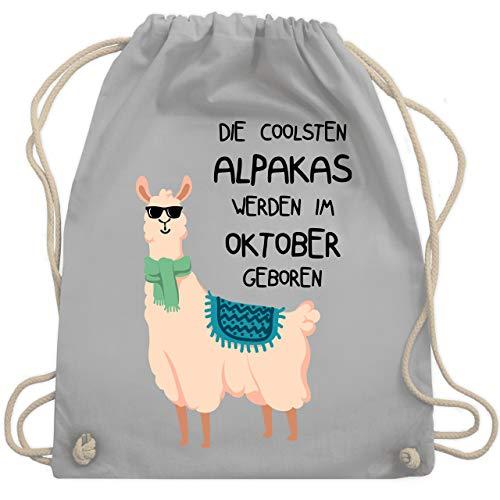 Shirtracer Geburtstag - Die coolsten Alpakas werden im Oktober geboren Sonnenbrille - Unisize - Hellgrau - alpaka turnbeutel - WM110 - Turnbeutel und Stoffbeutel aus Baumwolle
