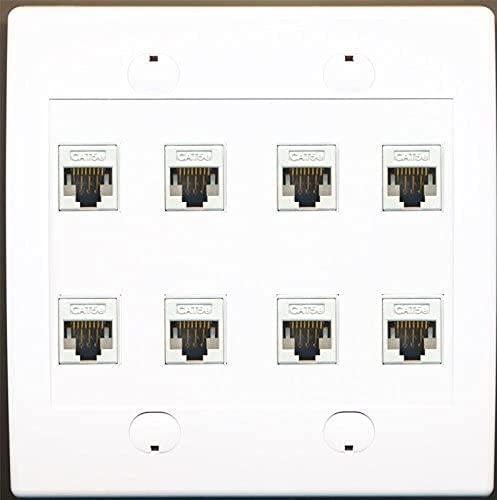 RiteAV 8 Port Flat Dual 2 Gang Ethernet Cat5e RJ45 Network Wall Plate - White