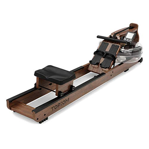 TOPIOM Rowing Machine, Wooden Rowing Machine Water Resistance for Home Use Fitness Exercise, with Adjustable Footrest and Bench,with LCD Display