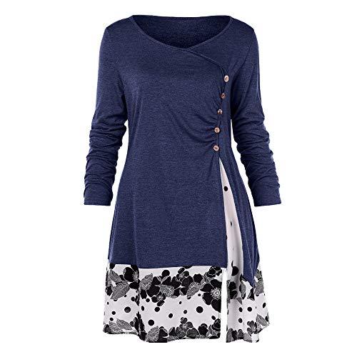 GOKOMO Knopfleiste Bluse Damen Knopfleiste Shirt Damen Langes LangäRmliges Hemd Damen Freizeit ÜBergroßE GrößE Drucken Reife Frau Elegant(Navy Blue,Large)