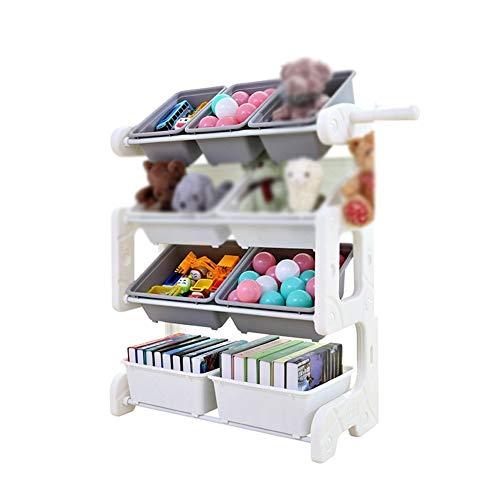 NINGWXQ Kinderbuchregal Mit 9 PP Kunststoff Aufbewahrungsboxen Kinderzimmer Spielzimmer Aufbewahrungs-Regal Fürs Kinderzimmer, 2 Farben (Color : A, Size : 73X35X92cm)