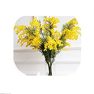Melancholy Rose 50pcs 57cm Fake Yellow Flower Branch Artificial Plant Mimosa Plastic Leaves Small Pompon Stamen-50pcs-