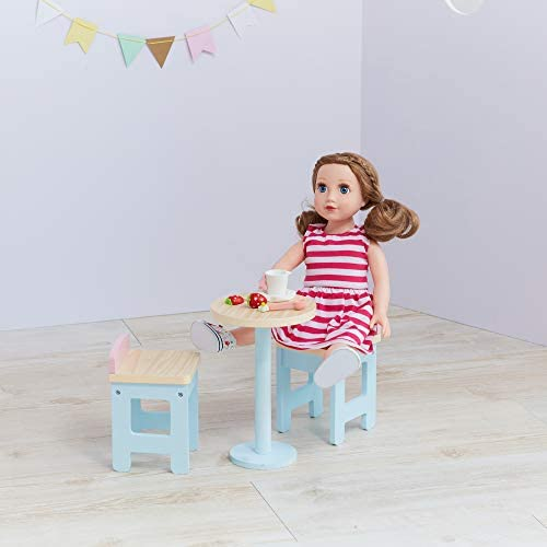Olivia s Little World Modern Nordic Princess Wooden Doll bar Table Chair Set fits American Girls product image