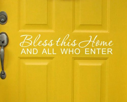 "Bless This Home And all Who Enter – Adesivo Decorativo in Vinile con Scritta in Inglese ""Bless This Home And all Who Enter"" Infradito Colorati Estivi, con finte Perline"