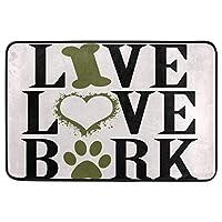面白い犬の装飾的な玄関マット滑り止めの洗える犬の引用骨の心臓の足ようこそ屋内屋外の入り口バスルームのフロアマットペット猫犬のマット家の装飾40cm x 60cm