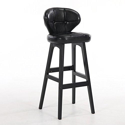 LightSeiEU/Tabouret haut simple moderne, chaise de barre arrière, tabouret de bar de caissier à la maison, tabouret haut de réception, chaises de barre en bois plein (Couleur : Noir)
