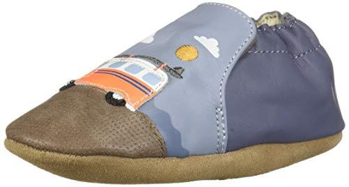 Robeez Boys' Soft Soles Crib Shoe, Light Blue, 12-18 Months M US Toddler