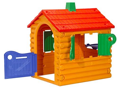 INJUSA - Casita de Jardín The Hut Multicolor con 2 Ventanas y Puerta Abatibles Recomendada a Niños +2 Años
