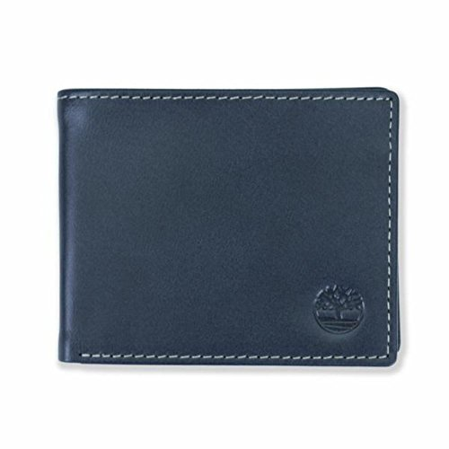 Timberland Men's Leather Wallet with Attached Flip Pocket, Navy (Cloudy), One Size