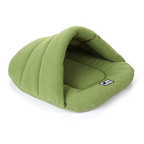 Tuzi Qiuge Haustierbett Tragbare Hund & Katze Schlafende Plüsch Warme weiche rutschfeste Untere Zwinger Weiche Hund Sofa Katze Kissenbett, Größe: 58 * 68 cm (6-10kg) (Color : Green)