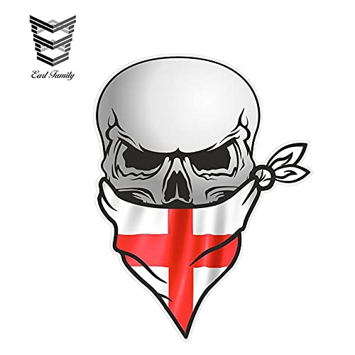 PJYGNK Sticker de Carro Motociclista gótico Calavera Pirata con pañuelo en la Cara St Georges Cruz Motivo de Bandera de Inglaterra Pegatinas de Vinilo externas para Coche