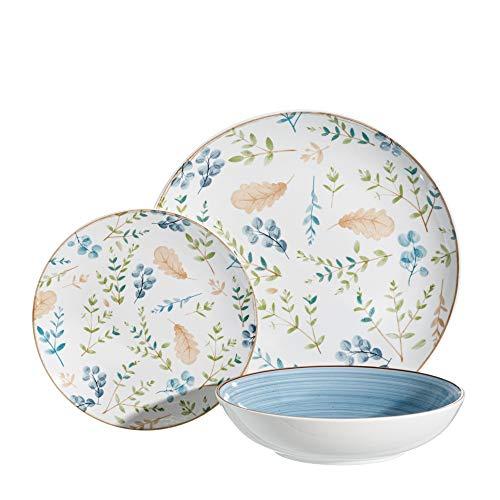 Vajilla hojas azul de porcelana de 18 piezas - LOLAhome
