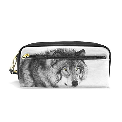 Estuche para lápices, bolsa de maquillaje de viaje con estampado de lobo, gran capacidad, impermeable, de piel, 2 compartimentos, el mejor regalo de Halloween para niños, niñas y niños