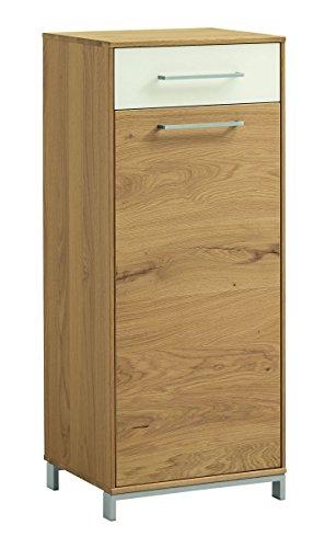 Voss 5-teiliges Garderoben-Set 12 VEDO | In Balkeneiche furniert mit Absetzungen in Mattglas Weiß