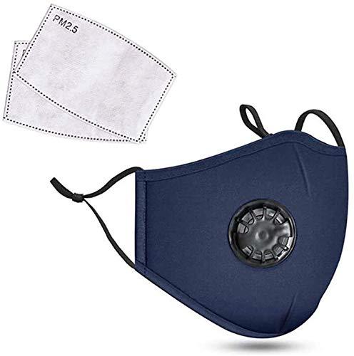 Staubschutzmaske aus Baumwolle mit atmungsaktivem Filter und 2 Aktivkohle-Luftfiltern – waschbar und wiederverwendbar, weicher Mundschutz mit verstellbaren Riemen (blau)