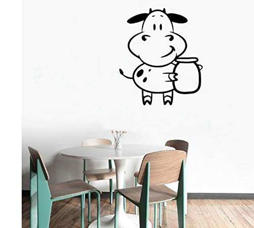 ZJMIQT Carino Vacca Parete Animale Vinile Adesivo Cucina Design di Arte murale Rimovibile Latte Bambini Nursery Room Home Decor