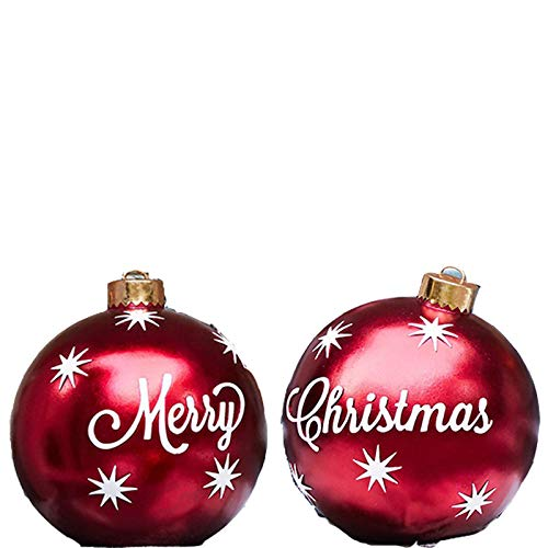2pcs Giant Commercial Merry Christmas Inflatable Ball Ornament, 23.6inch Huge Snowflake Balloon for Christmas Yard Decoration, Outdoor&Indoor,Christmas Tree Decoration