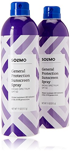 Amazon Brand - Solimo SPF 50 Continuous Sunscreen Spray Broad Spectrum, General Protection, Water Resistant 80 Minutes, 11 Ounce (Pack of 2)